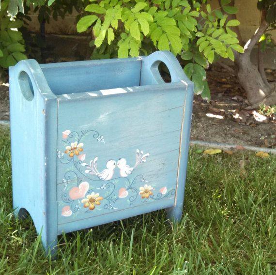 Vintage blue tole painted garden box or magazine rack - Home decor subscription box ...