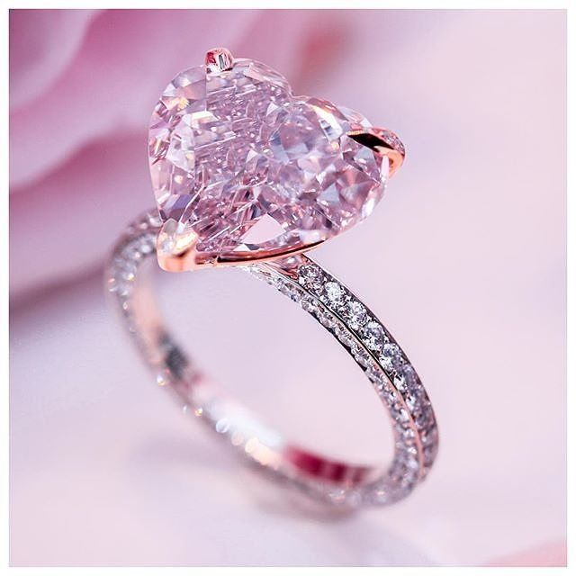 La Vie En Rose Heart Shaped Engagement Rings Pink Wedding