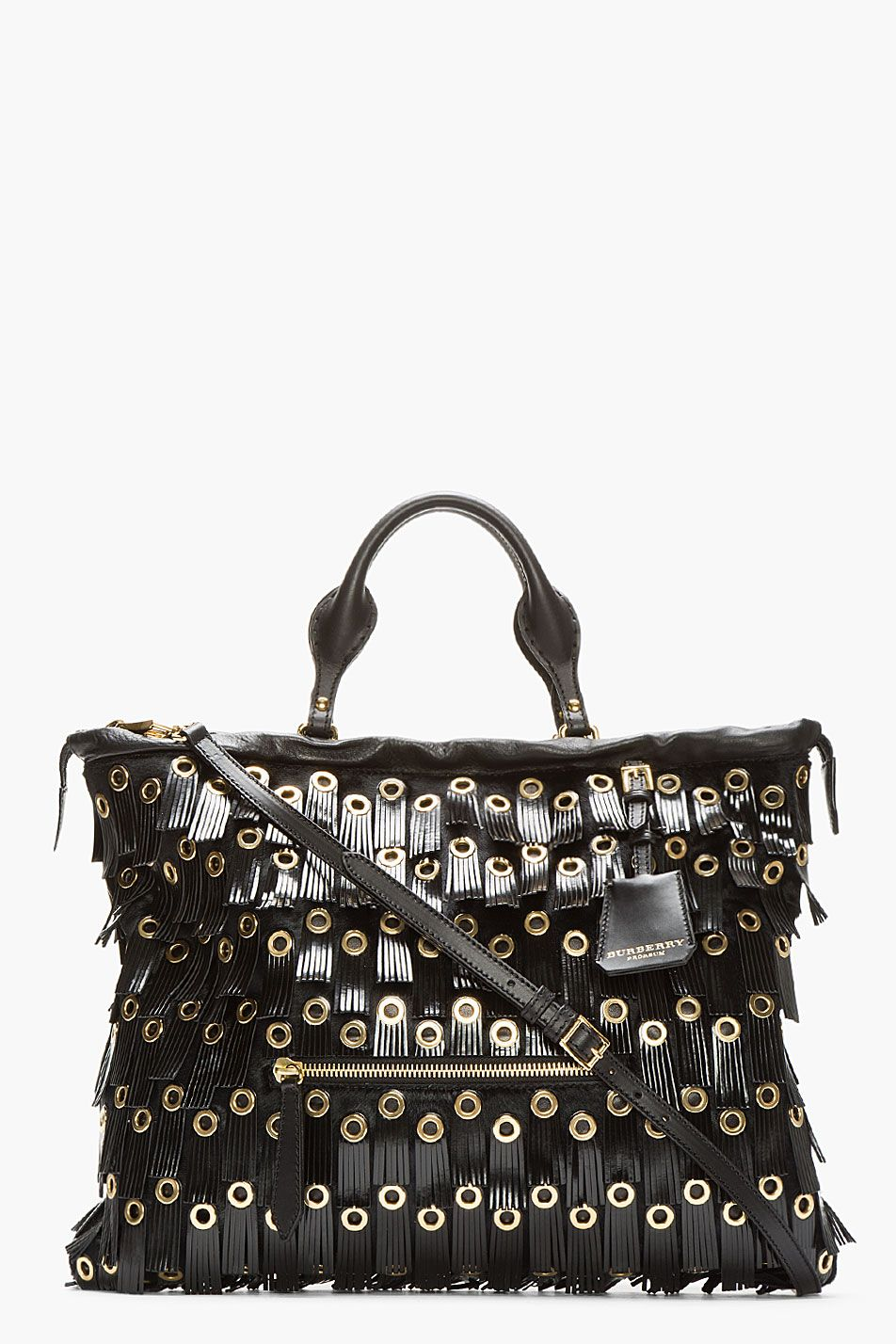 BURBERRY PRORSUM Black Patent Leather Fringed Grommet Tote