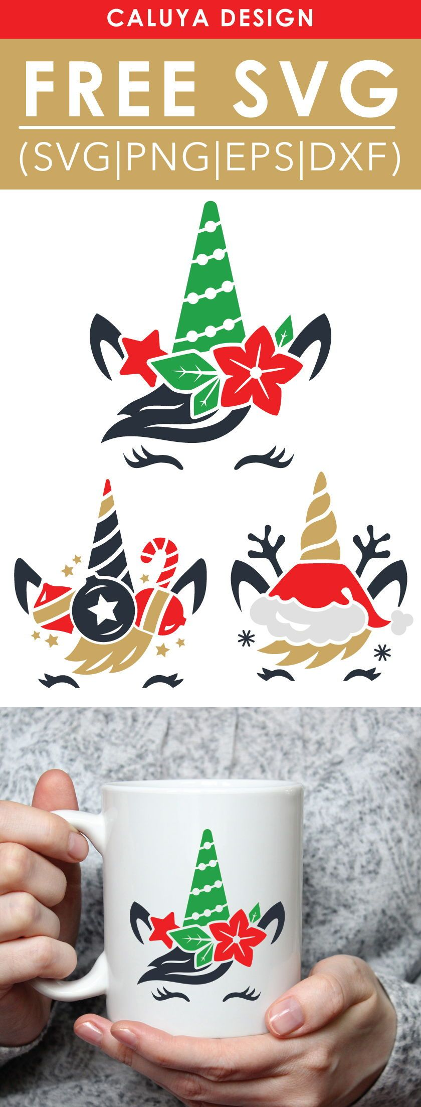 Free Christmas Unicorn SVG, PNG, EPS & DXF by #cricutvinylprojects