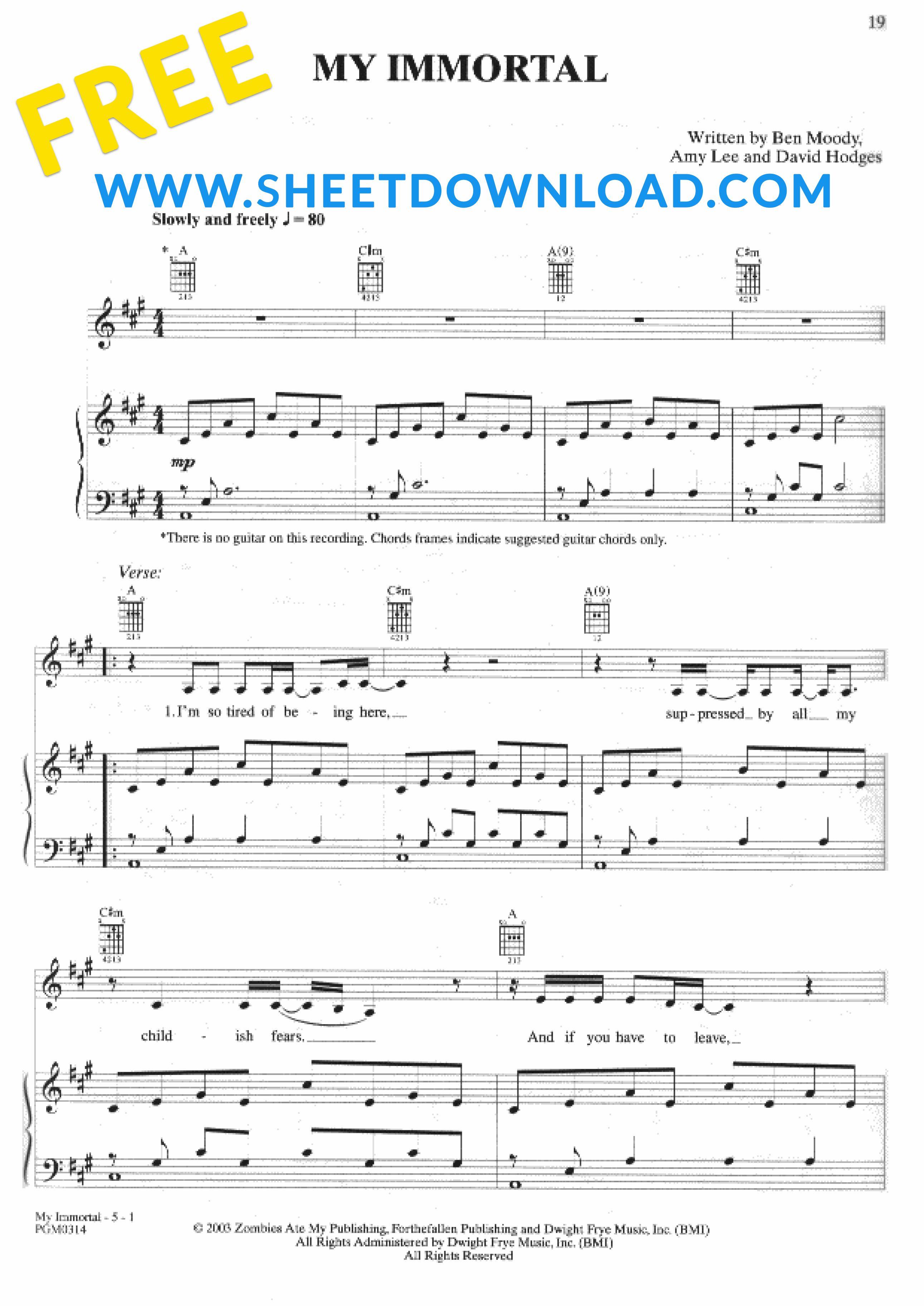 Download And Print My Immortal Piano Sheet Music 100 Free