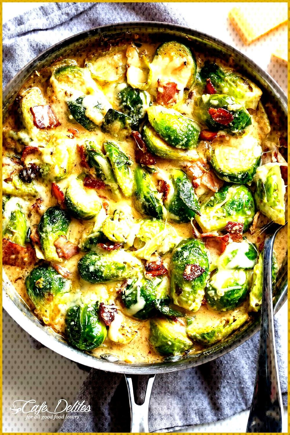 Creamy Garlic Parmesan Brussels Sprouts amp Bacon will become your NEW favorite ... Creamy Garlic Par
