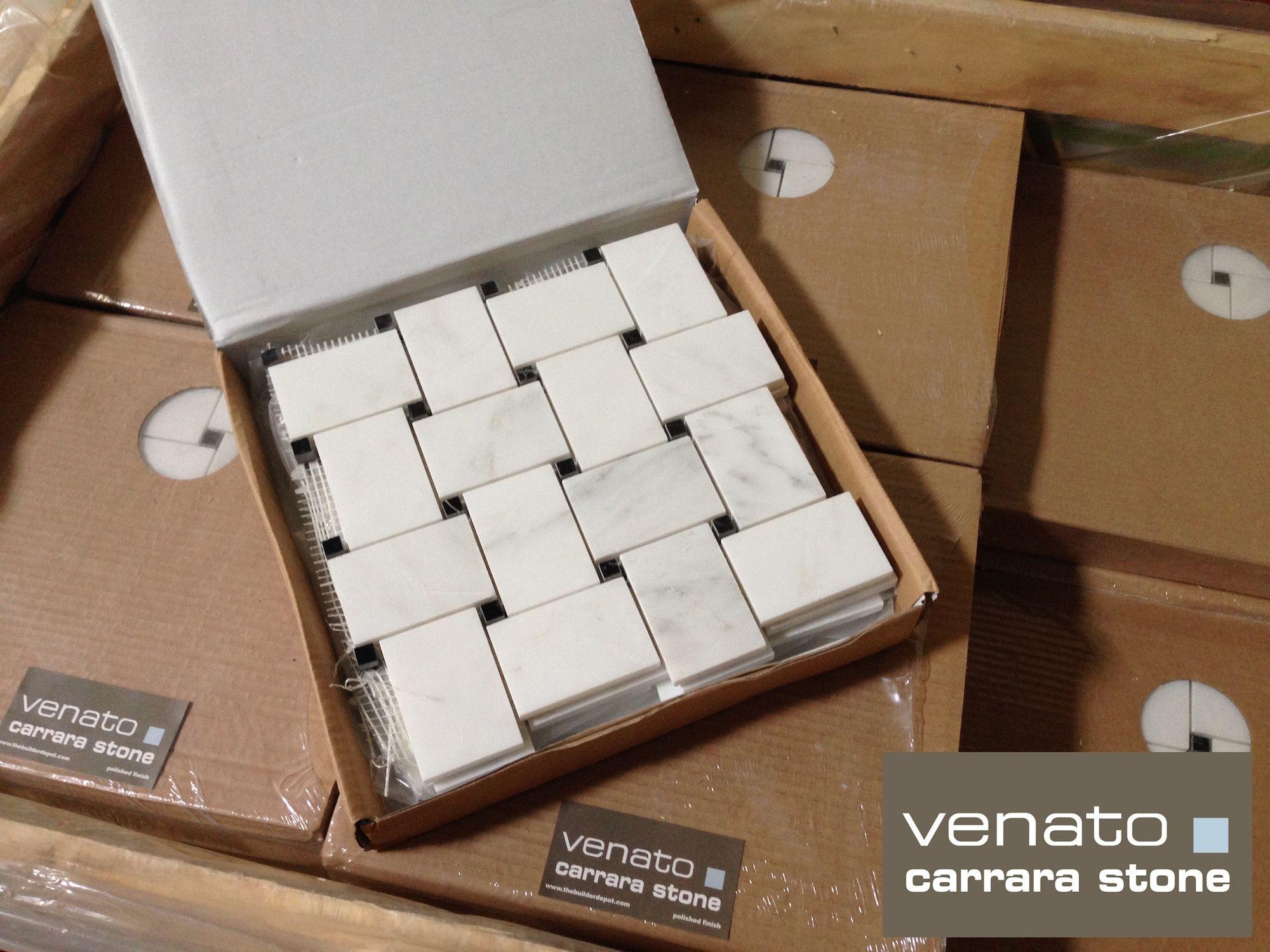 $11.75 a Sheet Carrara Venato Basketweave with a Black dot. Also ...
