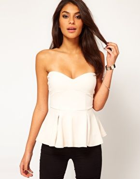 4c2d9bf258 Image 1 of ASOS Strapless Top with Extreme Peplum