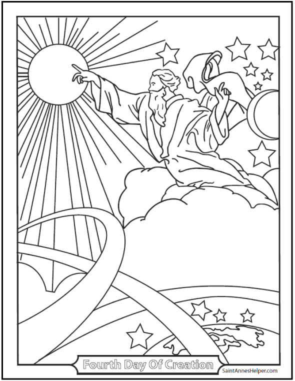 Catholic Bible Story Coloring Pages Fourth Day Of Creation Page