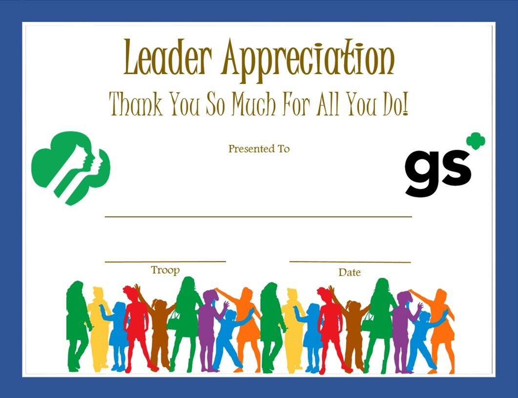 Leader appreciation certificate girl scouts pinterest leader appreciation certificate yadclub Choice Image