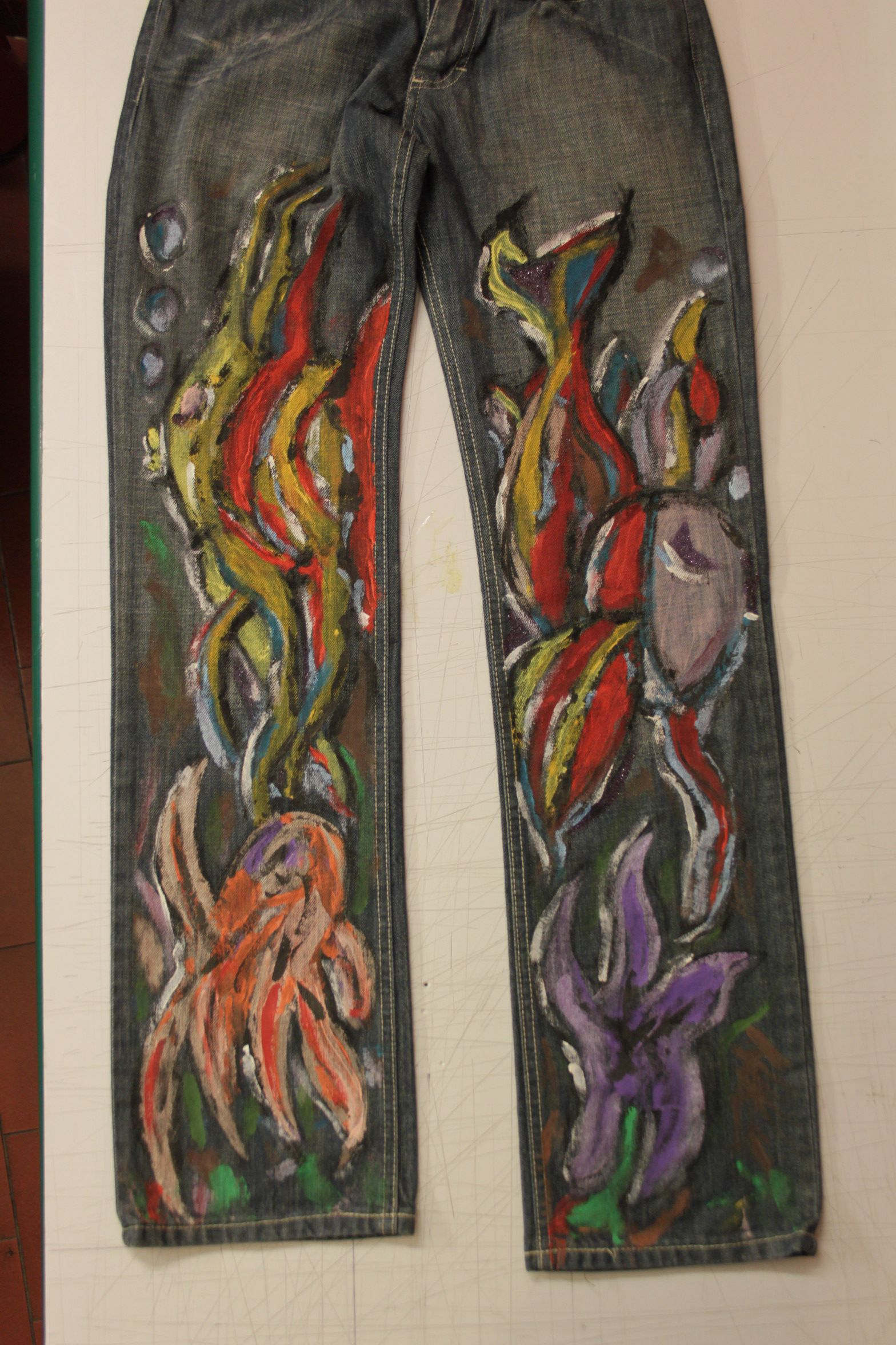 """""""Deep sea"""" hand painted with special colors just for denim"""