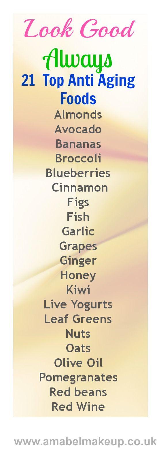 21 Top Anti Aging Foods  #healthyskin