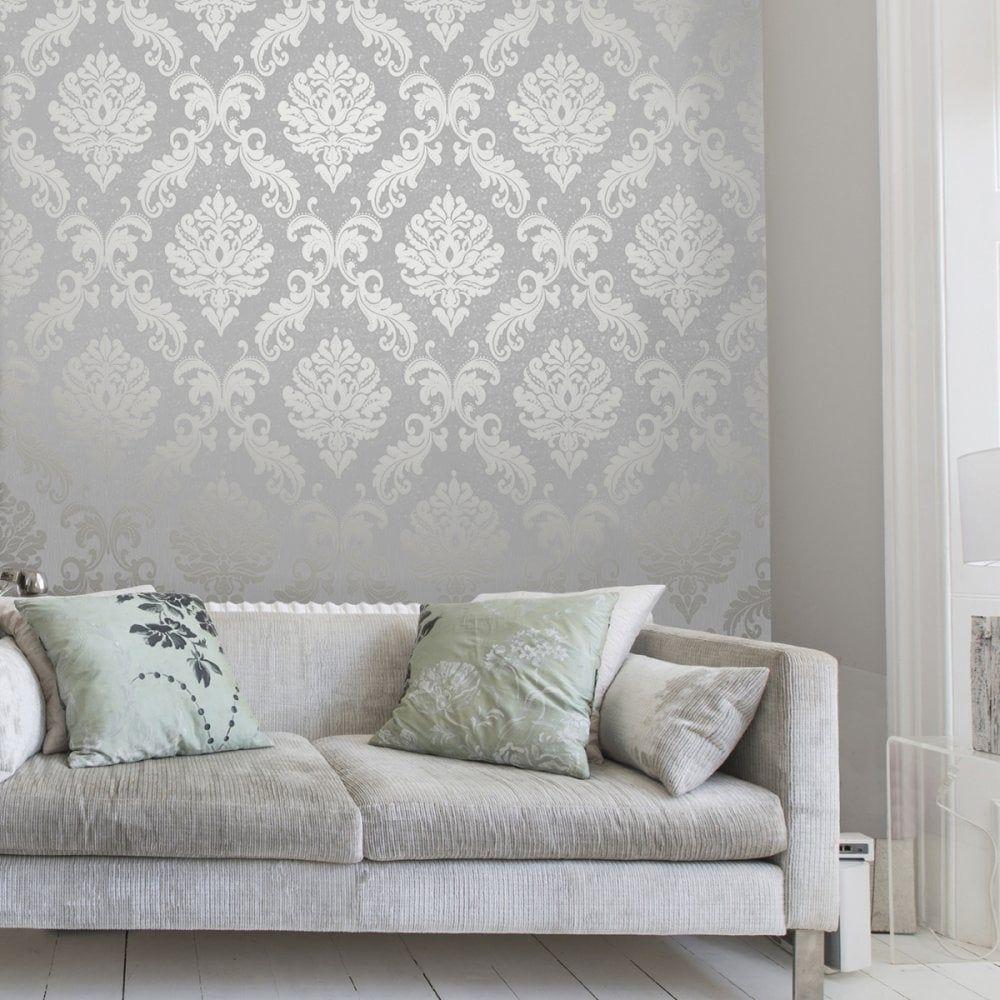 Chelsea Glitter Damask Wallpaper Soft Grey, Silver (H980504)