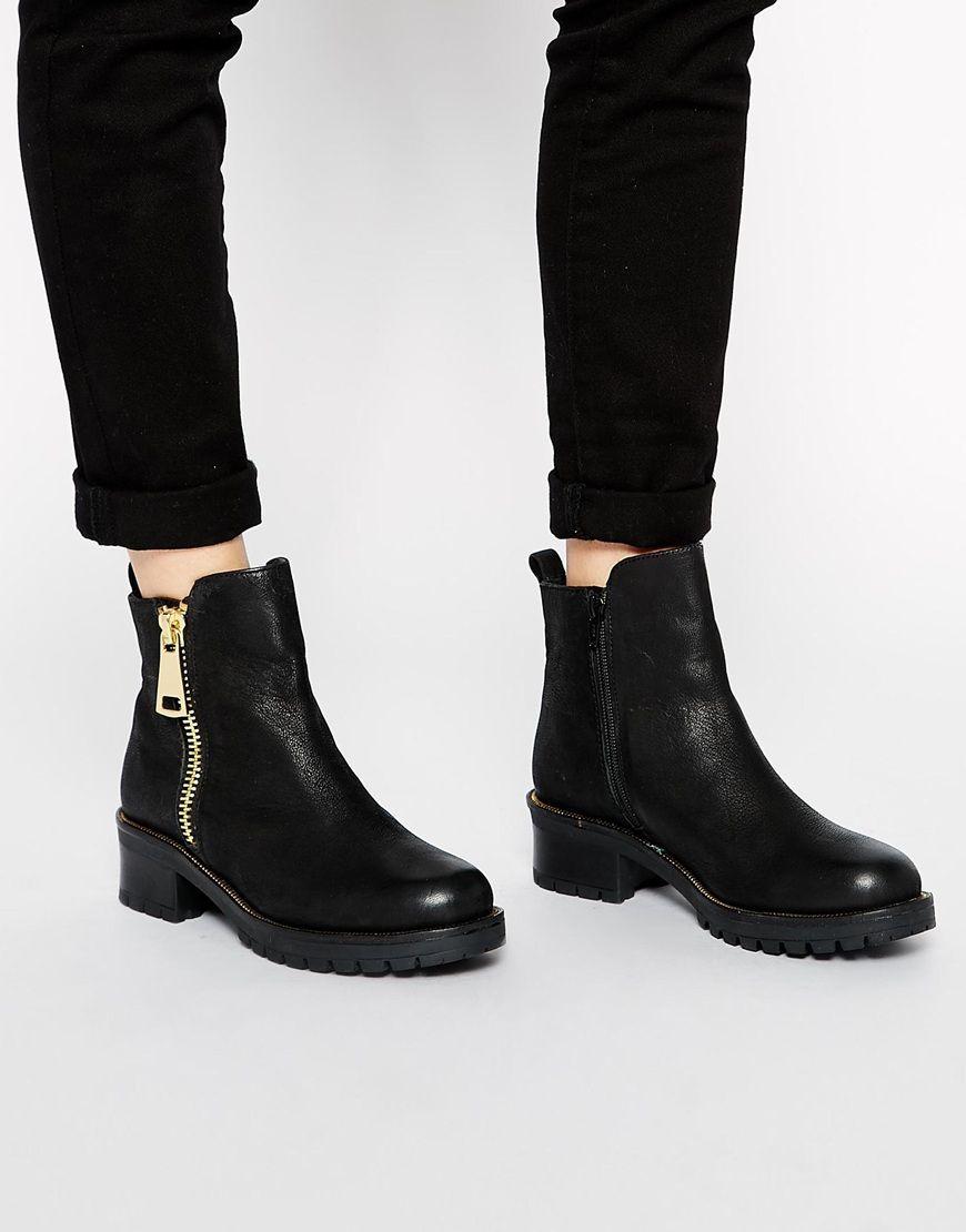 48c9cea777 Image 1 of ALDO Miroasa Zip Side Flat Ankle Boots