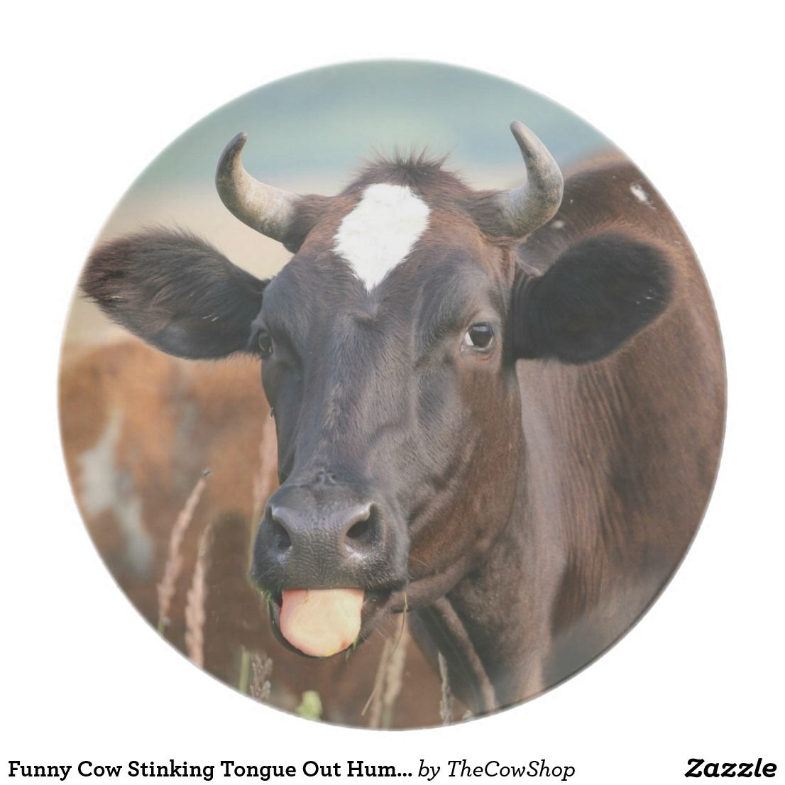 Funny Cow Stinking Tongue Out Humorous Heifer Cute #zazzle #cows #kitchen # plates  sc 1 st  Pinterest & Funny Cow Stinking Tongue Out Humorous Heifer Cute Melamine Plate ...