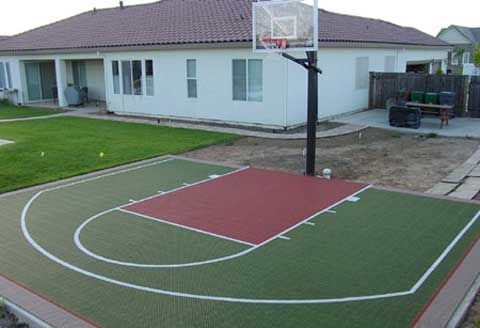 Half court basketball dimensions concrete hoops backyard for Home basketball half court dimensions