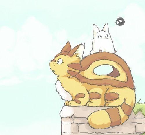 Catbus and chibi Totoro