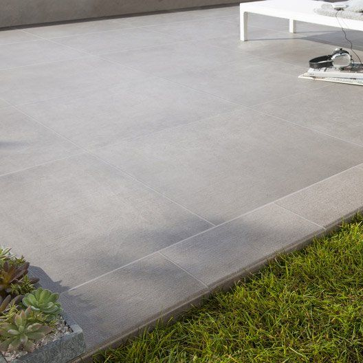 Carrelage taupe effet béton Houston l60 x L60 cm Maison Démoret - pave pour terrasse exterieur