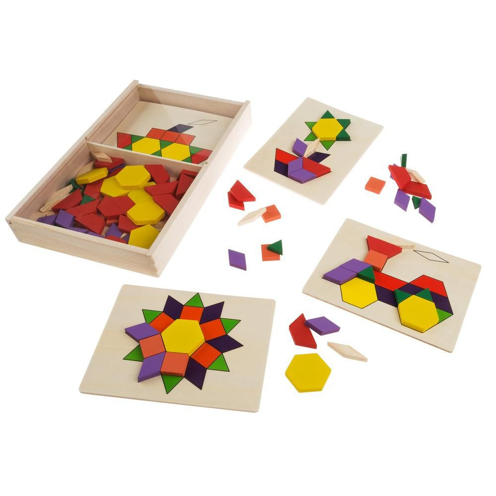 Hey Play Kids Tangram Toy With 125 Wooden Block Geometric Shapes
