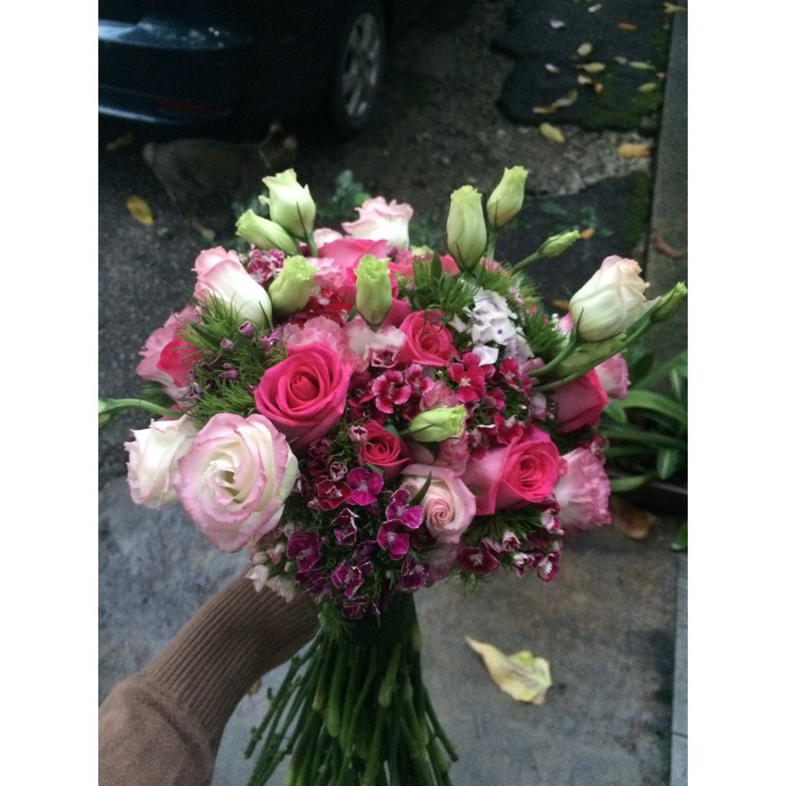 Pink Flower Bouquet With Roses Eustoma And Some Sweet William