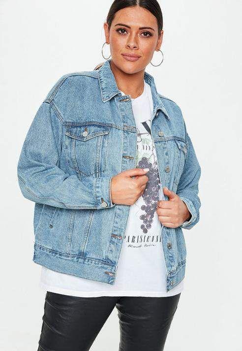 1896d7f01f Missguided Plus Size Blue Mid Wash Oversized Denim Jacket
