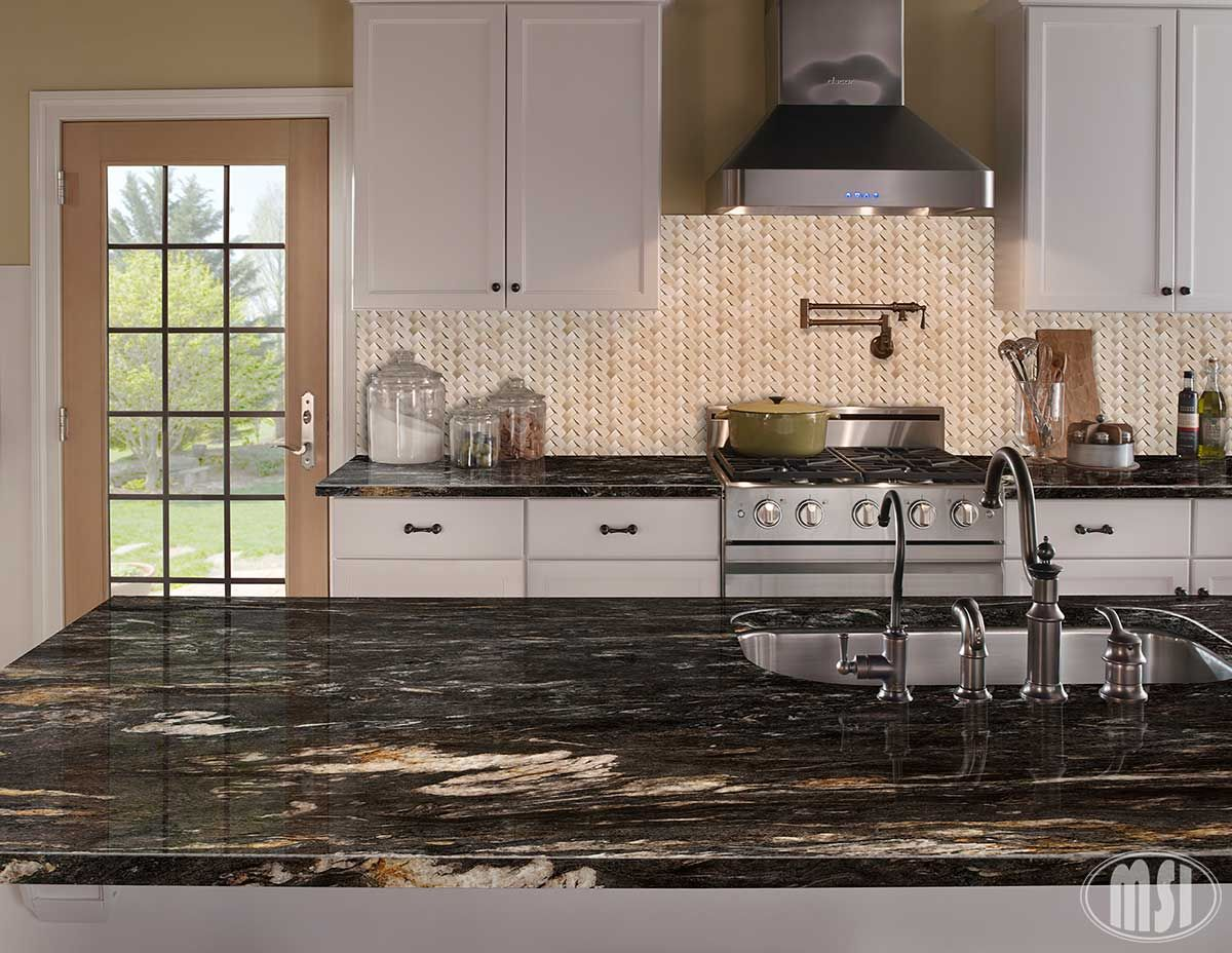 Black Titanium Granite Countertops Crema Arched Herringbone Polished Amazing Kitchens