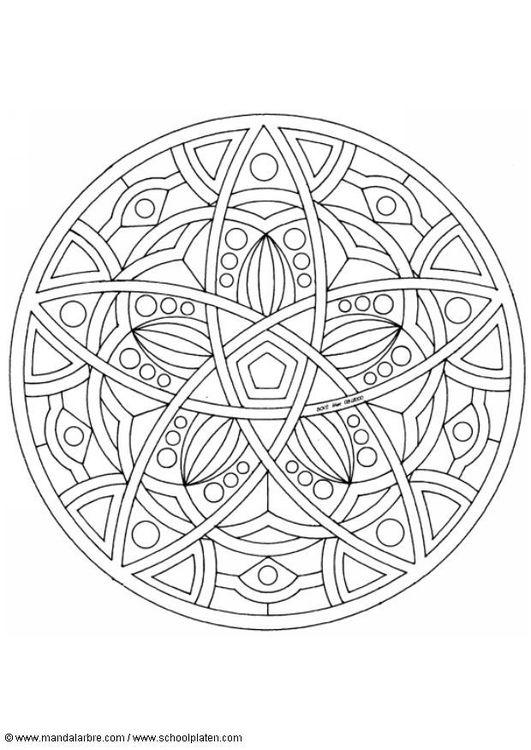 Kleurplaat mandala-1602e [305x431] | Mandalas | Pinterest | Colorear ...