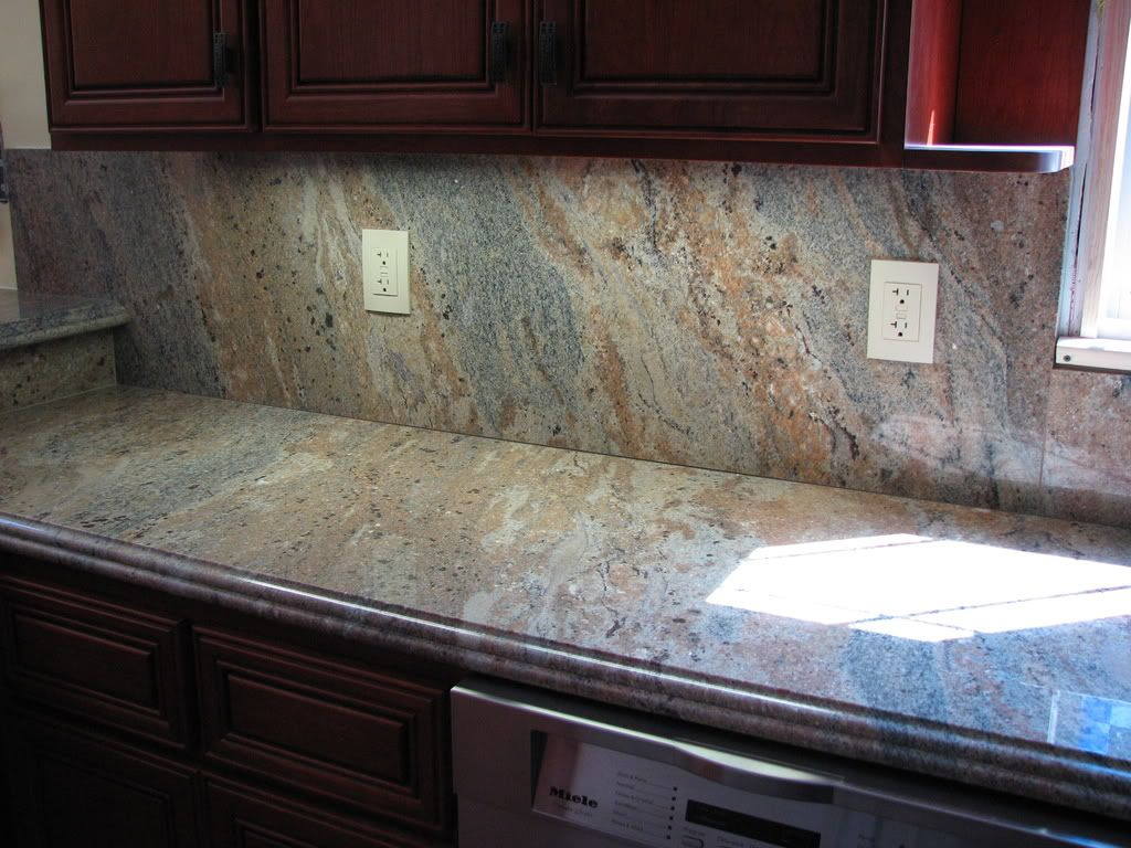 Pictures Of Kitchen Countertops And Backsplashes Hi All Does Anyone Have Any Pictures Of A Full Granite Backsplash .