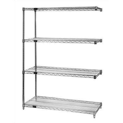 Quantum Storage Systems Ad86 1248c Add On Kit For 86 High 4 Tier Wire Shelving Unit Chrome Finish 12 Width X 48 Wire Shelving Wire Shelving Units The Unit