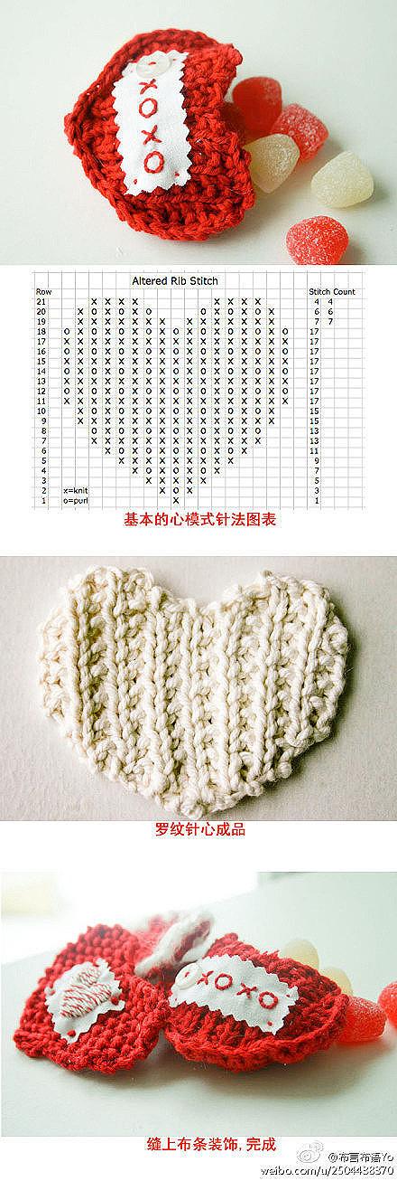 Knitting Heart Chart : Knit heart with chart crochet pinterest