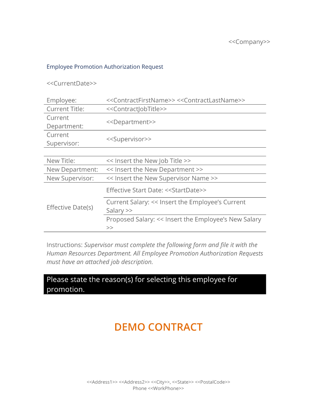 Employee Promotion Authorization Form Proposal Templates Job Promotion Employee Evaluation Form