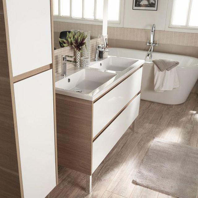 Meuble de salle de bains blanc 120 cm oreti castorama - Meubles de salle de bains castorama ...