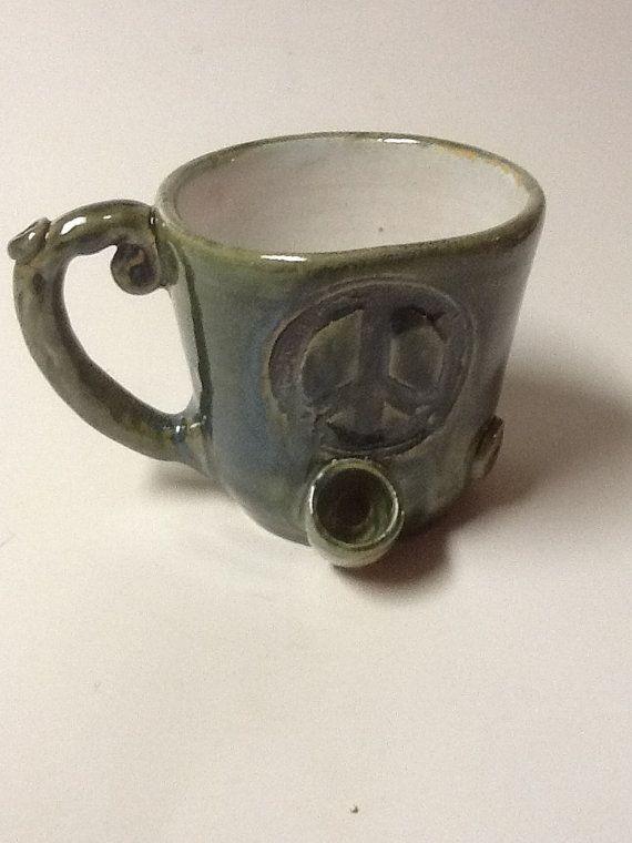 Peace Sign Coffee Mug Pipe Aka Wake And Bake By Claycafe On Etsy 48 00