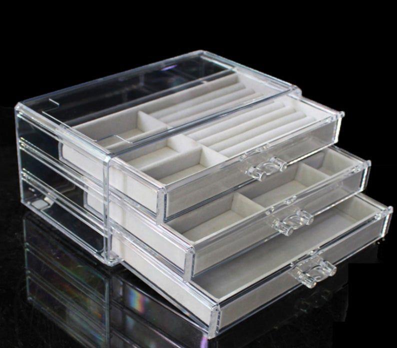Jewelry Organizer Jewelry Drawers Ring Box Velvet Tray Storage Box Makeup Organizer Bracelets Organizer Ring Tray Earrings Holder Jewelry Drawer Jewelry Organization Jewelry Display Box