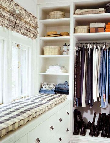 Making use of every inch between the floor and ceiling creates extra space for a window seat that also stores out-of-season clothes. Combining shelves with drawers and hanging space insures every garment and accessory has a home and is easily accessible./