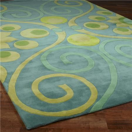 Soft Blue Yellow Lime Green Rug For