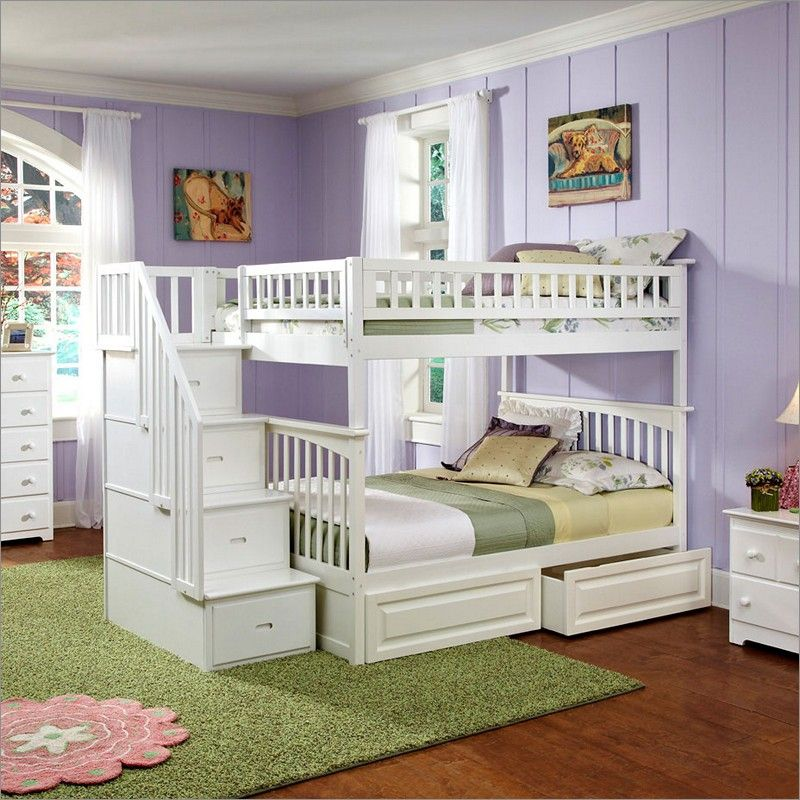 Atlantic Furniture Columbia Staircase Bunk Bed Full Over