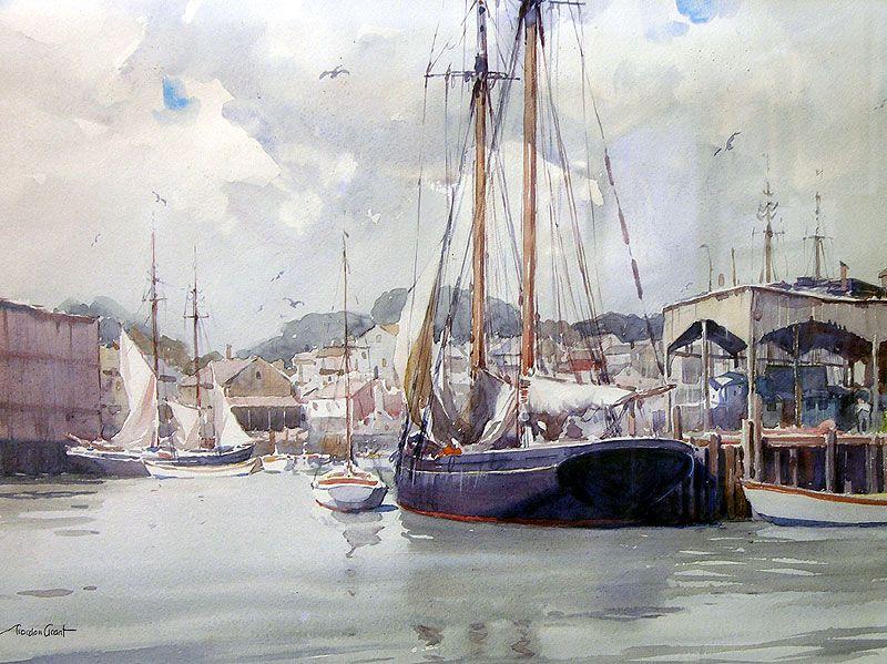 Gordon Grant. Gloucester, Inner Harbor. J. Russell Jinishian Gallery, Inc.