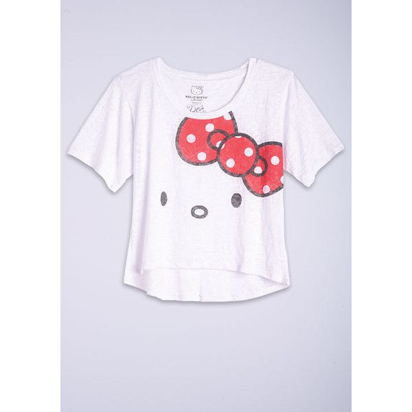 e4c7a636 Hello Kitty Big Face Tee found on Polyvore   tops   Tops, Crop tops ...