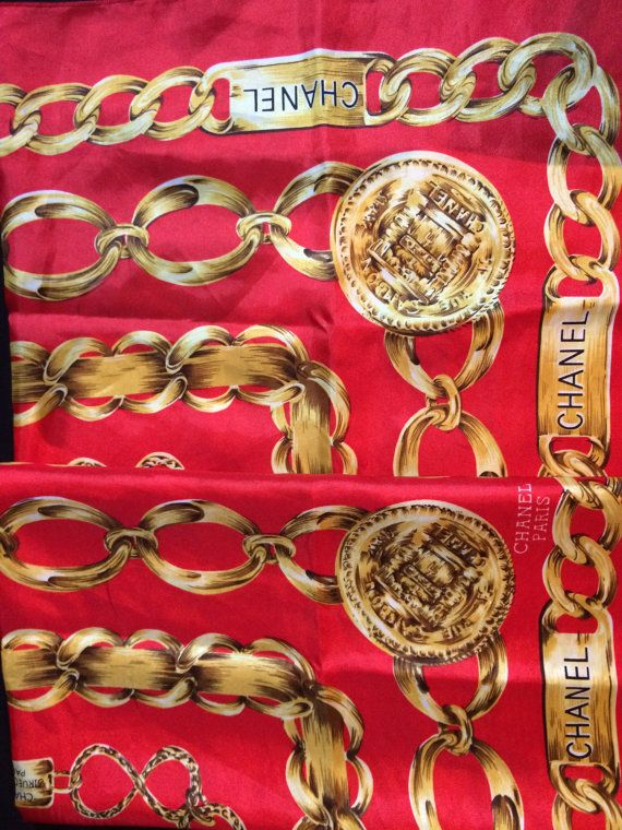 443320d50c31 CHANEL VINTAGE RED, GOLD CHAIN CHANEL, CLASSIC CHANEL GOLD, CHANEL RED  SCARF,