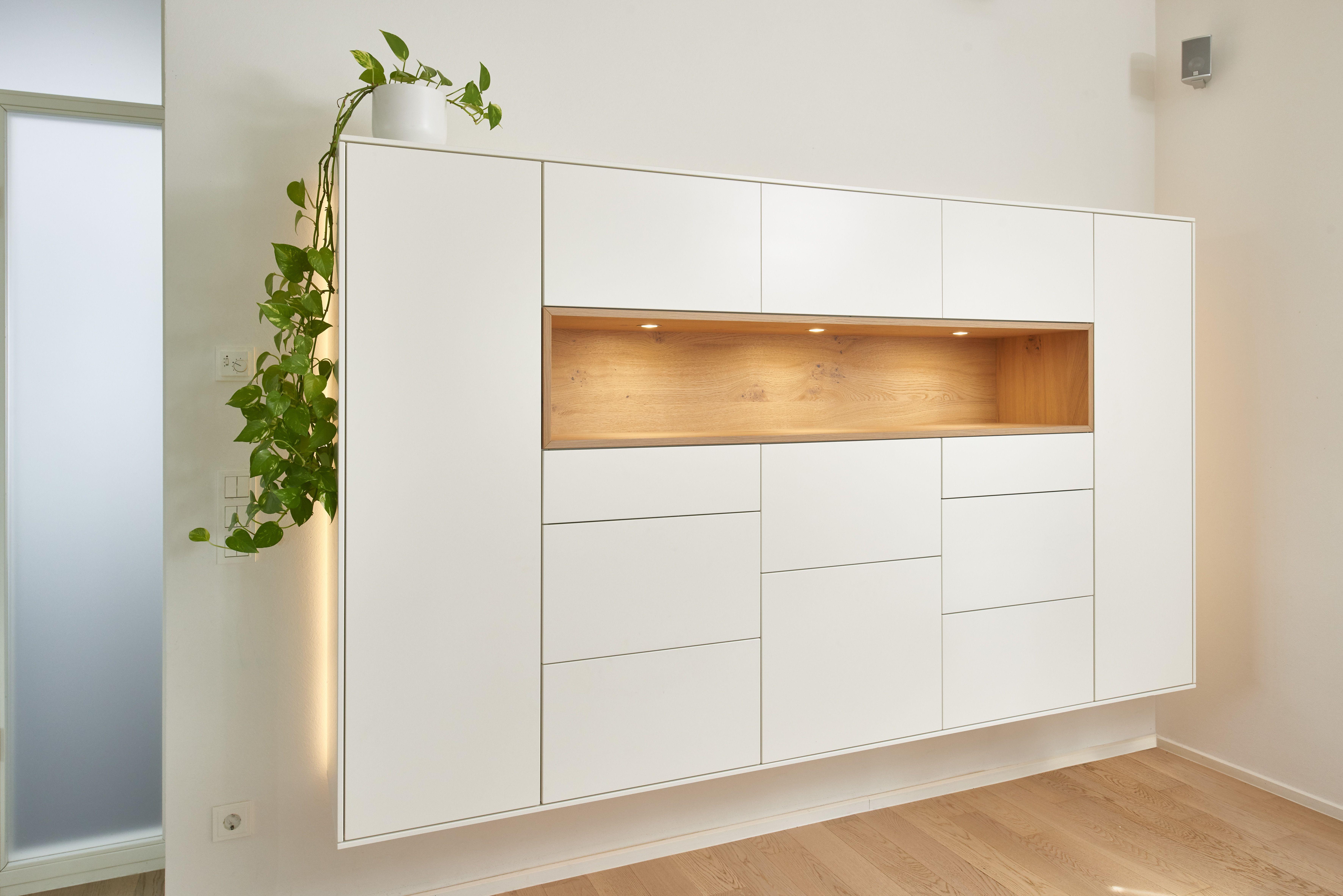 Diese Wohnzimmereinrichtung Besteht Aus Frei Hangenden Wandschranken Und Einem Tv Mobel Die Mobel Bestehen Aus W Wohnzimmer Wohnzimmereinrichtung Wandnischen