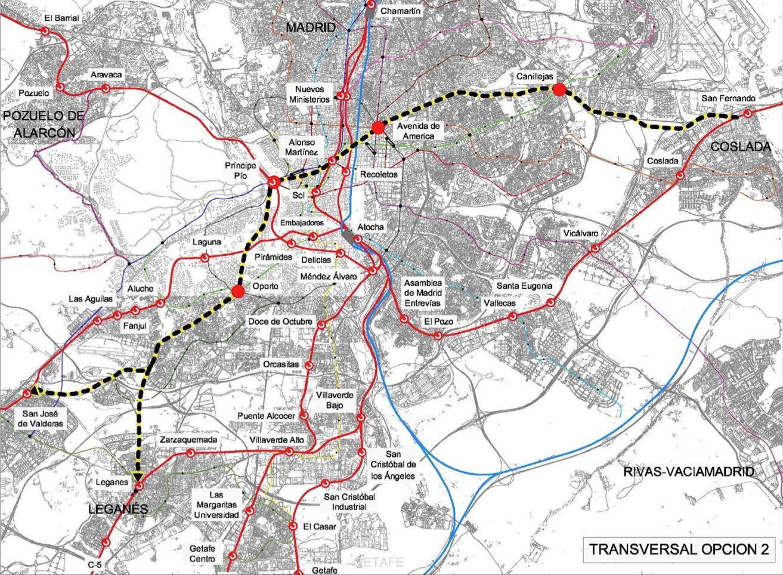 Trazado Del Eje Transversal Desde Coslada A Leganes Y Alcorcón - Leganés map