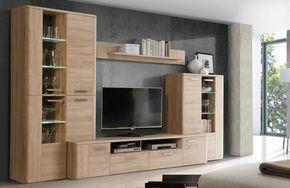 Moderne Wohnzimmerschränke ~ Schrankwand in eichefarben modern 5 teilig wohnzimmerschrank