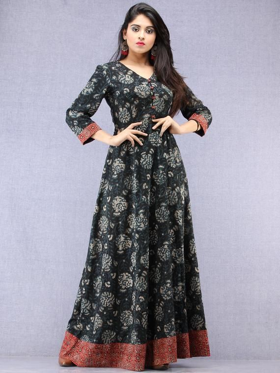 133504f1d3 Nazmin - Hand Block Printed Long Cotton Dress With Back Knots - D162F1823