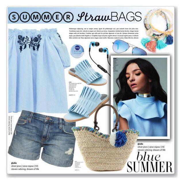 """blue summer"" by nanawidia ❤ liked on Polyvore featuring Chicnova Fashion, Current/Elliott, TIBI, Ray-Ban, Nivea and Skullcandy"