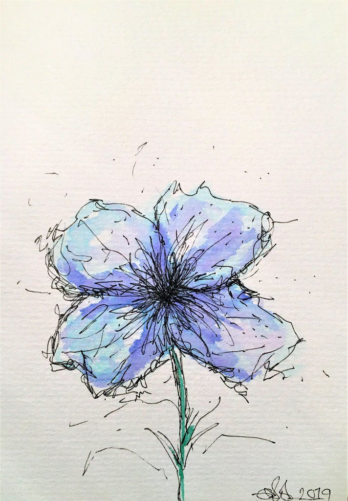 Handpainted Watercolour Greeting Card - Abstract Blue/Pale Blue Flower Design