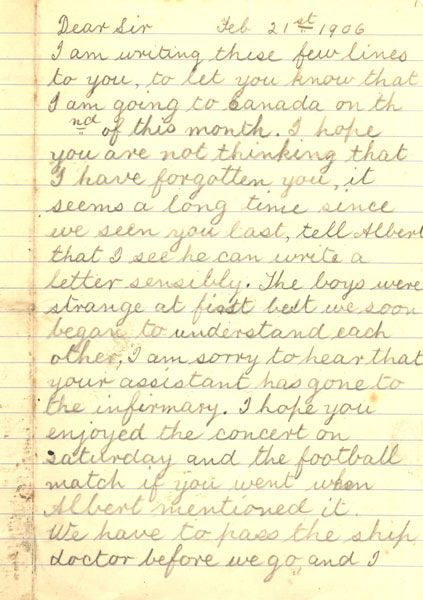 handwritten letter on lined paper, page 1 Child Migration - paper lined
