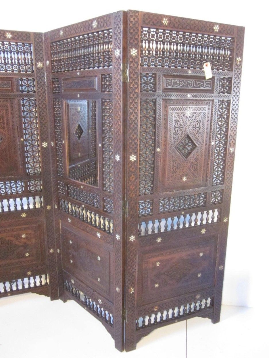 Furniture antique dark brwn oak wood three folding screen panel
