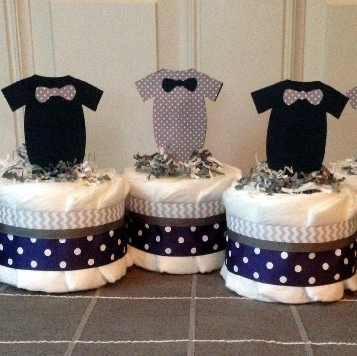 Little man mini baby diaper cakes in navy blue and gray