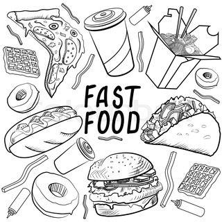 Fast Food Set Food Doodles Fast Food Coloring Books
