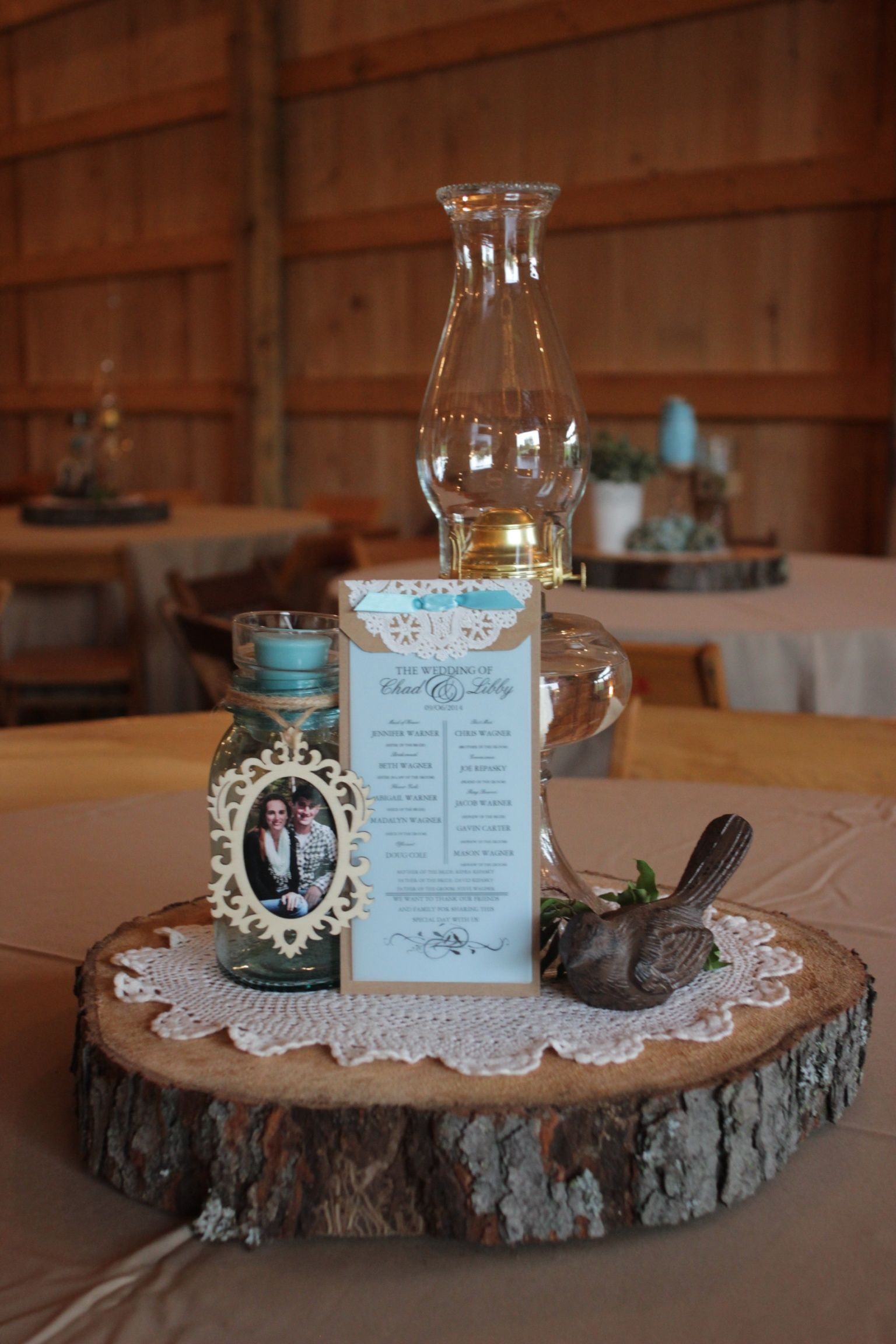 Antique oil lamps used as one of different centerpieces