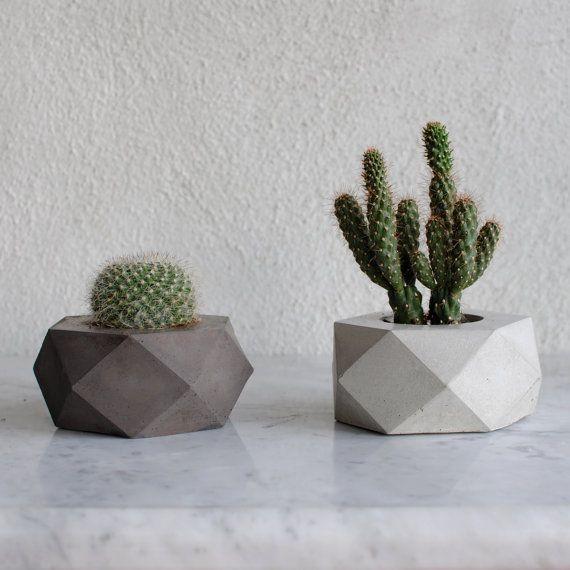 ore white concrete succulent planter vase pot. Black Bedroom Furniture Sets. Home Design Ideas