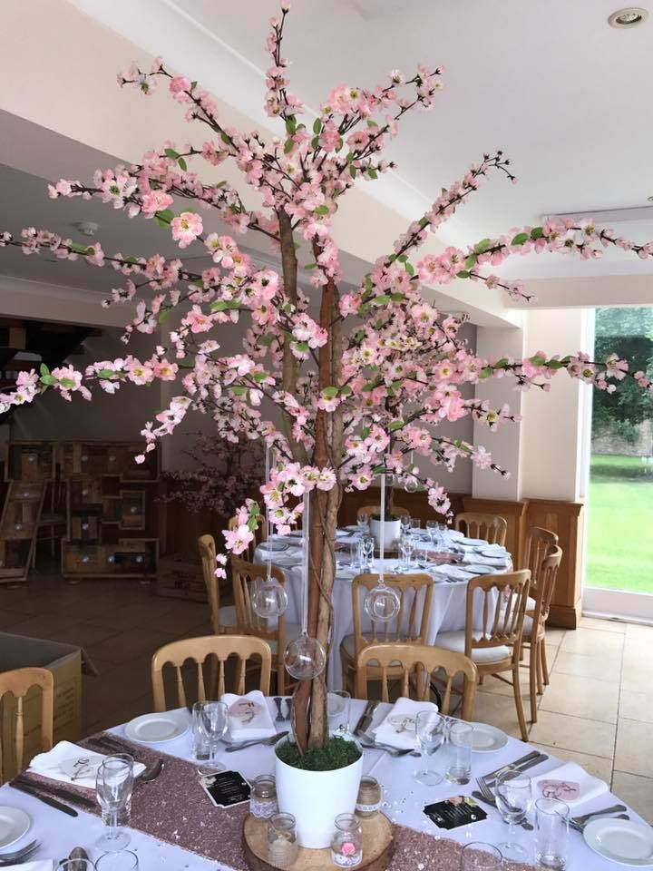 Hire Only Standing At 5ft 1 7m Our Artificial Pink Blossom Trees Complete With Glass Cherry Blossom Centerpiece Tree Wedding Centerpieces Pink Blossom Tree