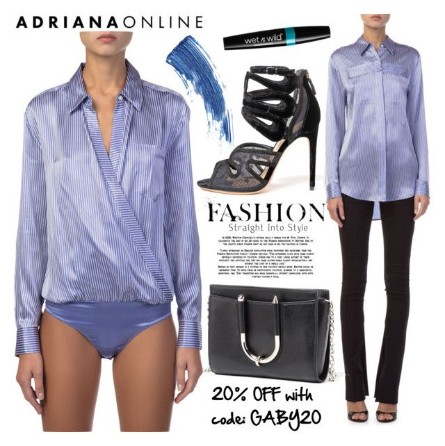 """""""ADRIANA ONLINE: Collar Blouses"""" by gaby-mil ❤ liked on Polyvore featuring Thierry Mugler, Alexandre Birman and Eyeko"""